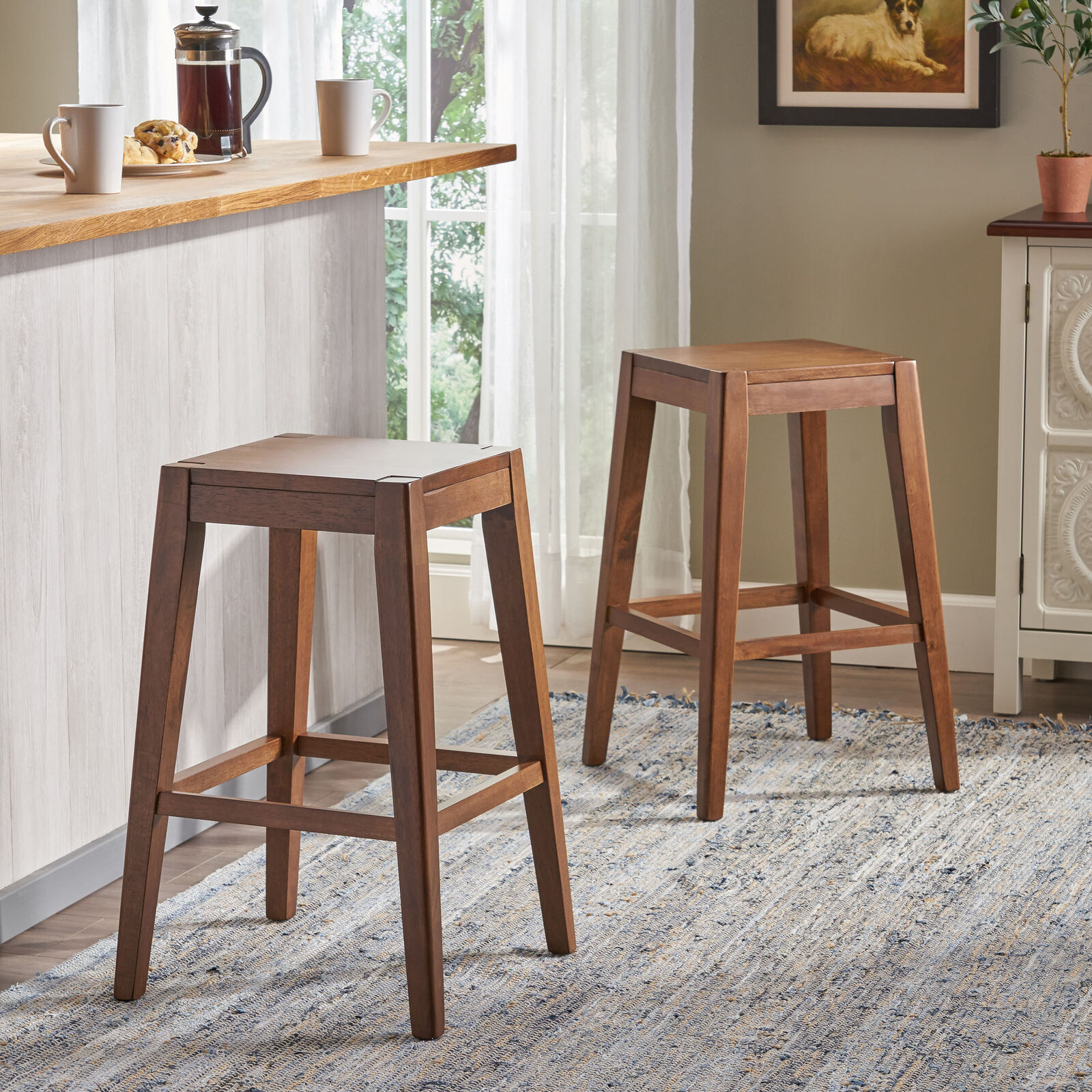 Elaina 26″ Wooden Counter Stool (Set of 2) Benches, Stools & Bar Stools