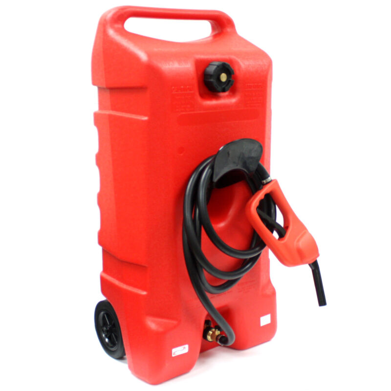 14 Gallon Gas Caddy Can Fluid Transfer w/ Hand Nozzle Pump & 10