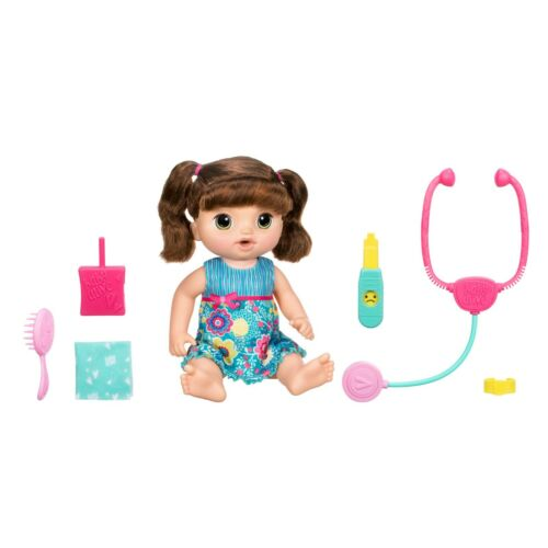 Baby Alive Sweet Tears Black Hair Baby Doll, Drinks Cries Tears Doctor Brunette