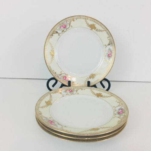 "Nippon ""M"" Hand Painted China Bread & Butter Dessert Plate Rose Gold Trim Lot 4"