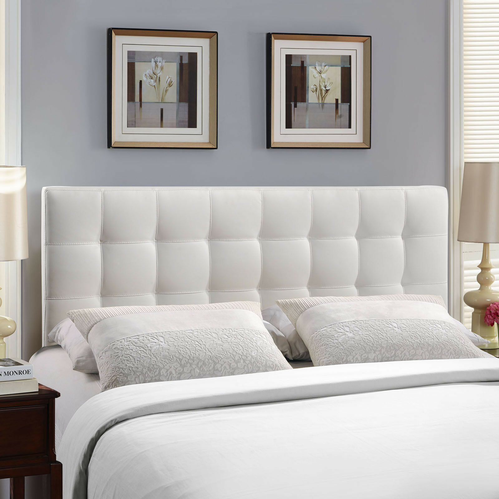 Tufted Upholstered Faux Leather Square Full Size Headboard In White Ebay