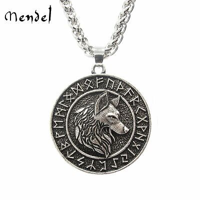 MENDEL Mens Vintage Norse Viking Rune Wolf Head Pendant Necklace For Men Women