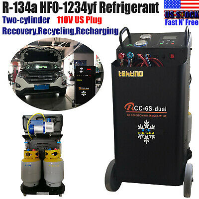 R-134a1234yf Ac Twin Refrigerant Recovery Machine Recycle Vacuum Recharge 110v