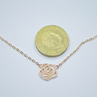 Rose Gold Plated Hollow Cut Out Rose Flower Pendant Chain Necklace 16.9