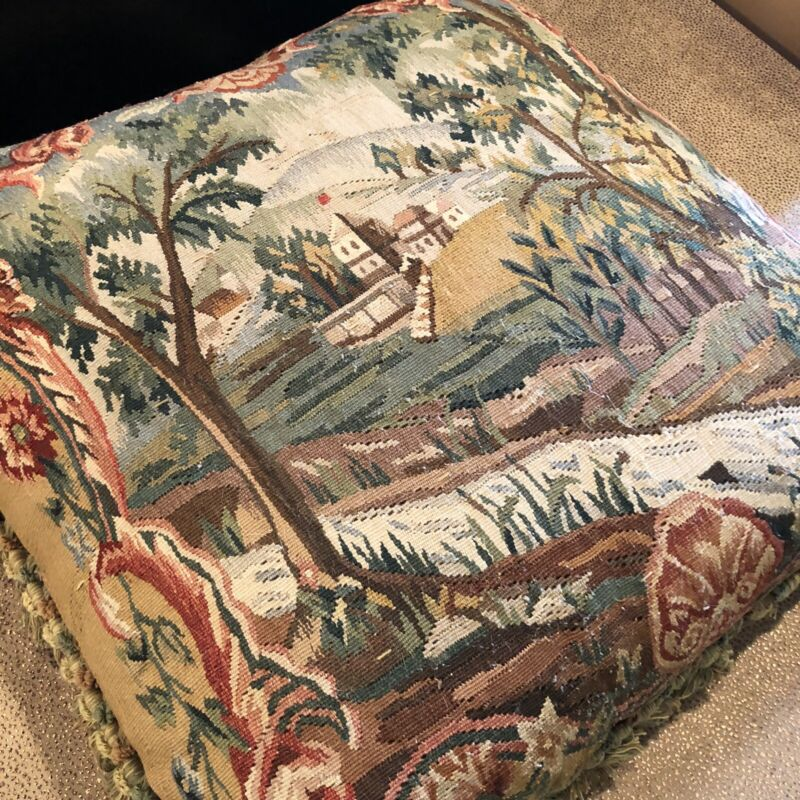 "Designer Made Antique 18th Century Aubusson Tapestry Pillow 22"" x 22"""