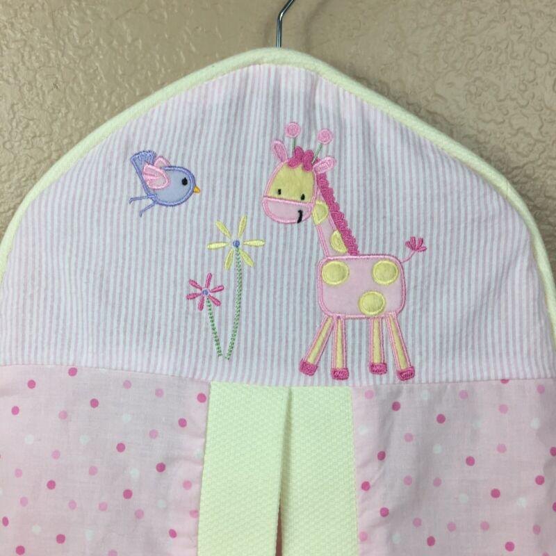 Lambs & Ivy Diaper Stacker Pink Polka Dot Embroidered Giraffe Blue Bird Flower