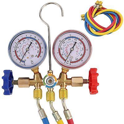 2-Wege Monteurhilfe Klimaanlage für R12, R22 und R502 Klima Set 3 Schläuche DE