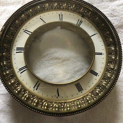 Vintage Mantel Clock Enamel Dial Face Brass Bezel Bevelled Glass Antique Craft