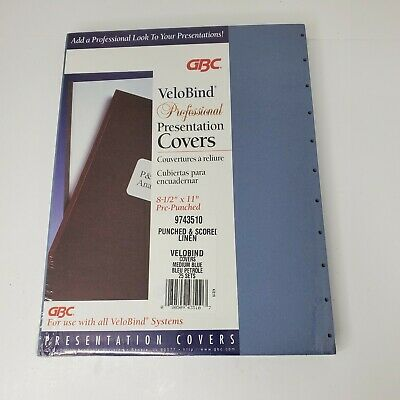 Gbc Velobind Professional Presentation Covers 25 Sets Pre-punched Medium Blue
