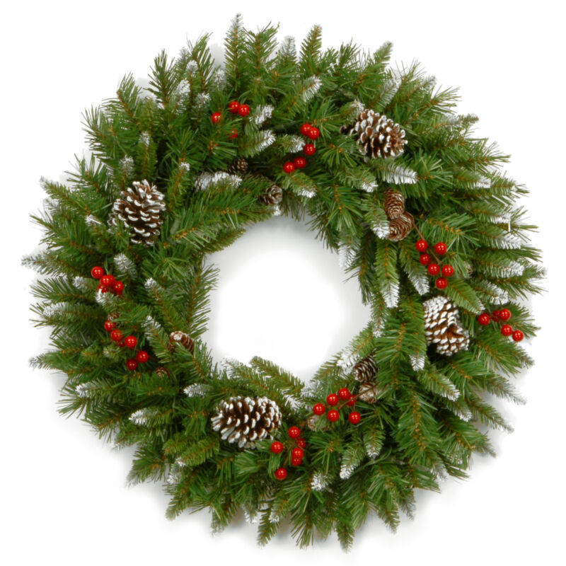 National Tree Company Pre-lit Artificial Christmas Wreath | Flocked with Mixe...