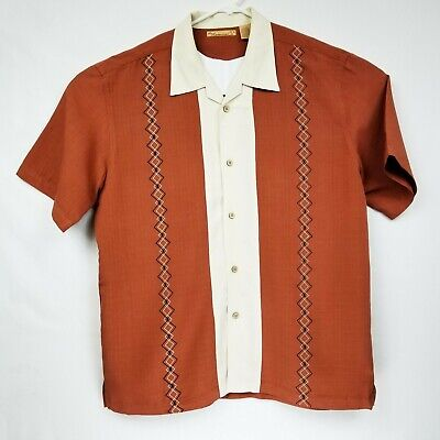 The Havanera Co Mens L Rust and Cream Double Panel Embroidered Shirt LNC MINT