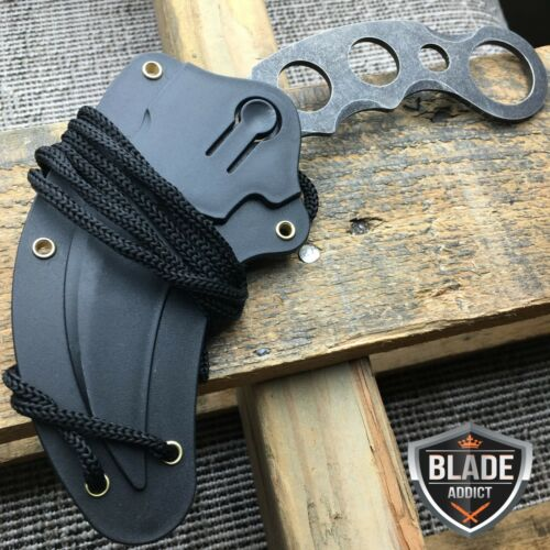 Купить Defender Xtreme - TACTICAL STONEWASH COMBAT KARAMBIT NECK KNIFE Survival Hunting BOWIE Fixed Blade