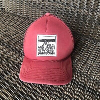 Patagonia Master Chief Trucker Hat Etched Mountain Dark Red RARE ()