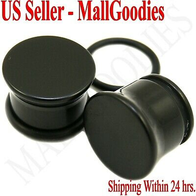 0937 Black Acrylic Single Flare Ear Plugs 1/2