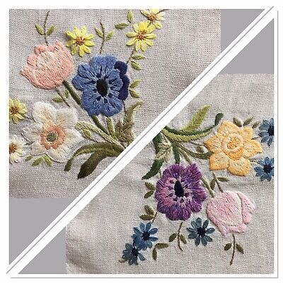 """Beautiful Vintage Linen Tray Cloth Hand Embroidered Floral 17"""" x 24"""" Spring VGC"""