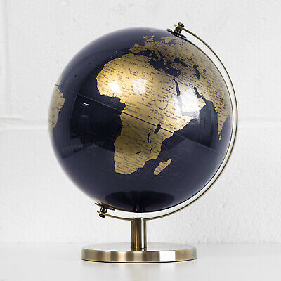 Large Blue Rotating Globe Vintage Atlas World Home Decor Desk Office Ornament