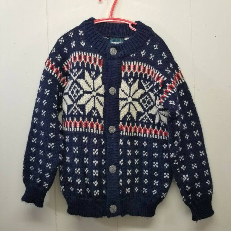 Dale of Norway Sweater Youth 10 140 Wool Knit Cardigan Blue Red Nordic Fair Isle