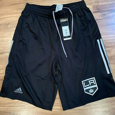Los Angeles LA Kings NHL Adidas Climalite 3-Stripes Black Center Ice Shorts ()