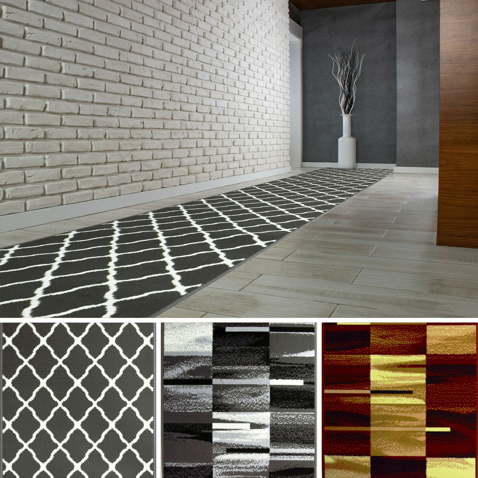Hochwertig Modern Teppichläufer Küchenmatte Teppich Läufer Dunkelgrau Braun_W