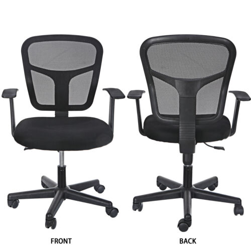 Black Ergonomic Executive Mesh Chair Swivel Mid Back Office Chair Computer Desk  8