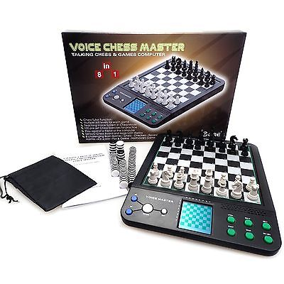 Chess Computer Talking Voice Checkers Tournament Chess Set & Board Brain Game