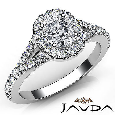 Halo French Pave Split Shank Cushion Diamond Engagement Ring GIA E VVS2 1.21 Ct