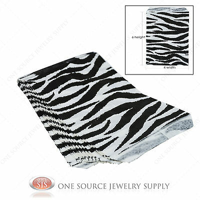100 Zebra Print Gift Bags Merchandise Bags Paper Bags 4x 6