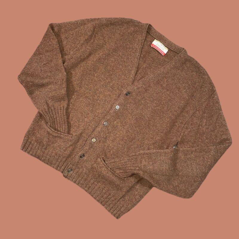 VINTAGE 60s Jantzen Mens Wool Cardigan Medium Brown Shetland Pockets Grunge