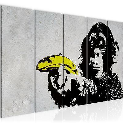R Affe mit Banane Banksy Street Art VLIES LEINWAND BILD KUNS (Affe Bananen)
