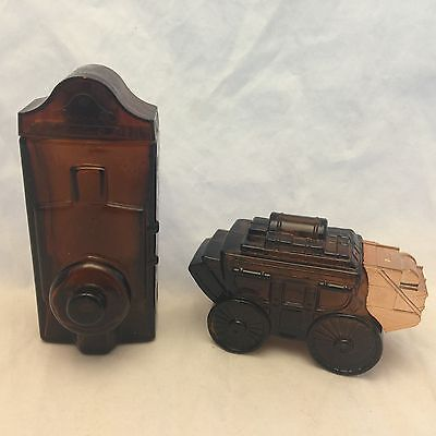 2 VINTAGE AVON COLOGNE GLASS BOTTLES-STAGECOACH OLAND WAGON & WILD COUNTRY BROWN