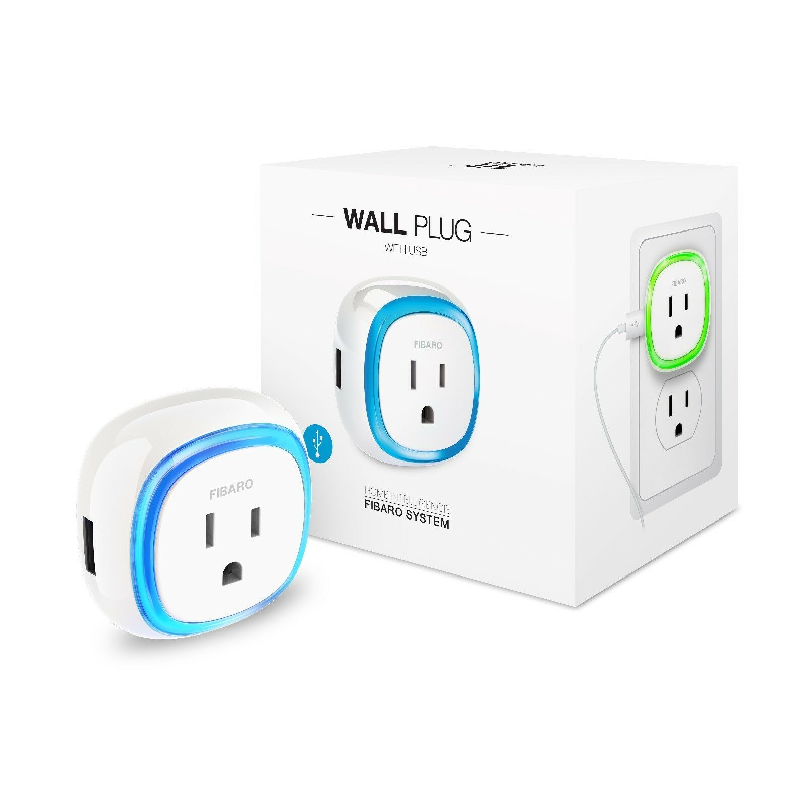 FIBARO Z-Wave Plus Wall Plug with USB Charging Port FGWPB-121