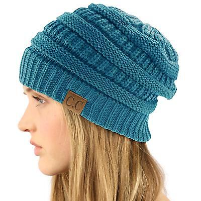 - Unisex Winter Chunky Soft Stretch Cable Knit Slouch Beanie Skully Ski Hat Teal
