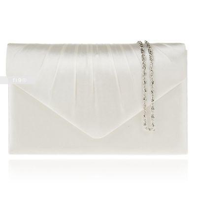 New Ivory Satin Wedding Ladies Party Prom Evening Clutch Hand Bag Purse Handbag Ivory Satin Purse