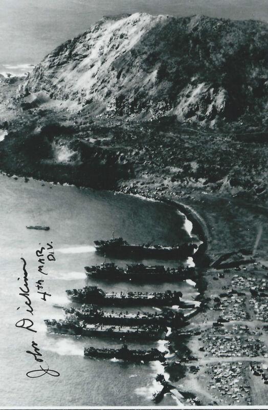 John Dickinson signed autograph WW II Iwo Jima Rare COA LOOK!