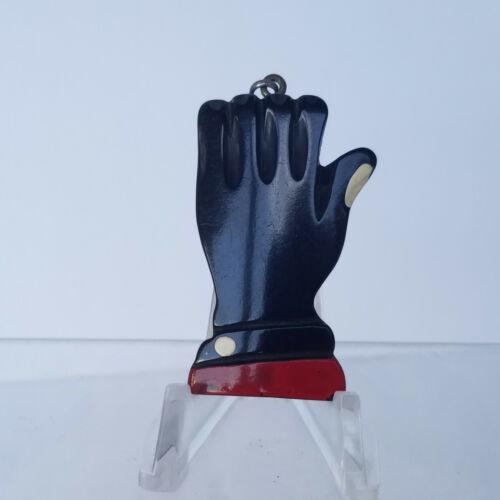 Vintage Black Bakelite Large Hand Charm/Pendant/Key Fob Abstract Design Tested