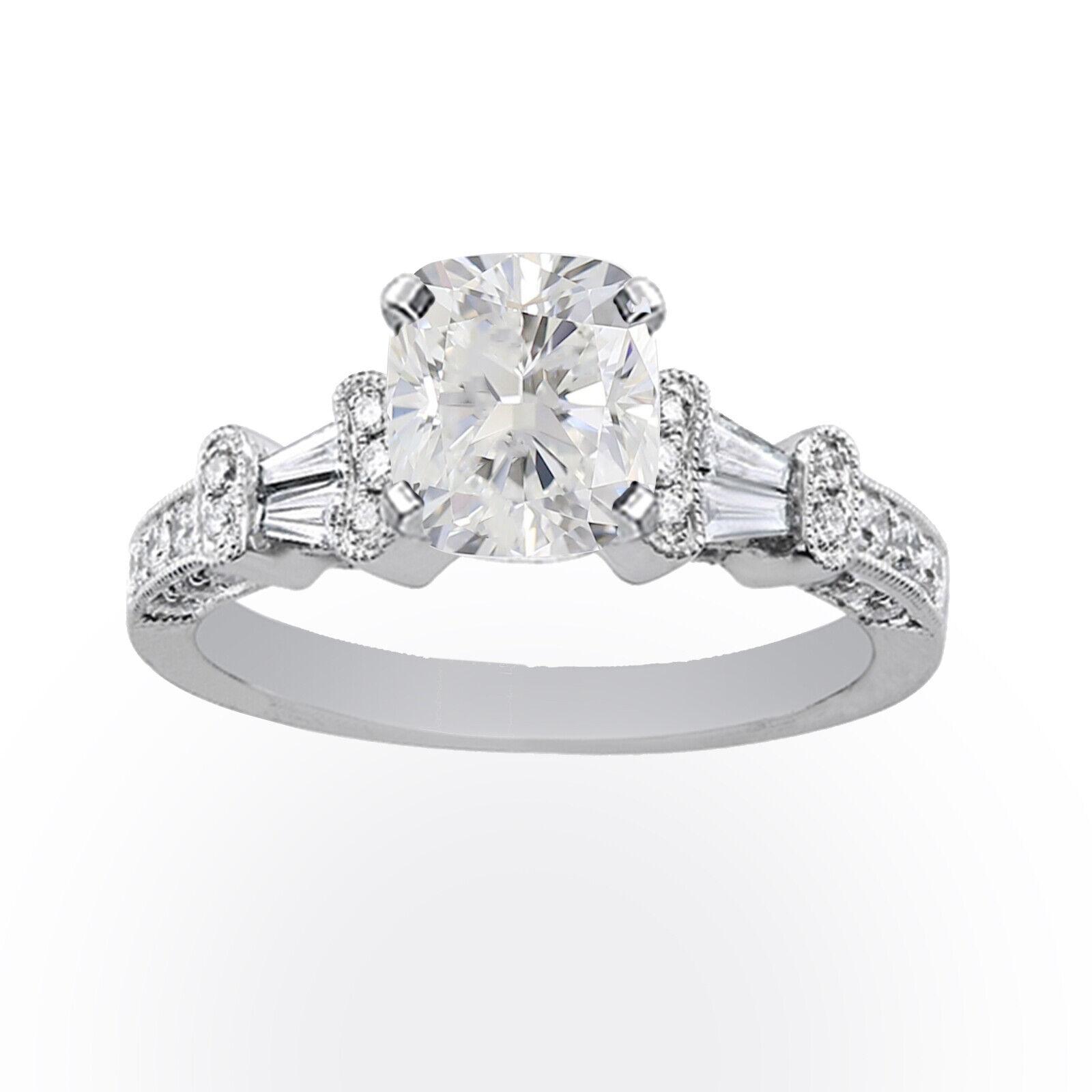 18k White Gold 1.33 carat GIA Certified Diamond Engagement Ring Cushion Cut