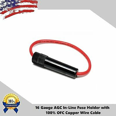 10pcs 16 Gauge AGC In-Line Twist Type Fuse Holder 100% Copper Wire Cable Boat (Agc Marine Fuses)