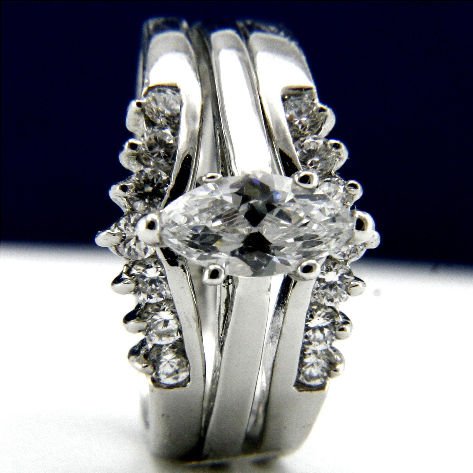 Fashion Diamonique CZ Gold Plated Engagement Wedding 2pc Ring Set  - $19.01