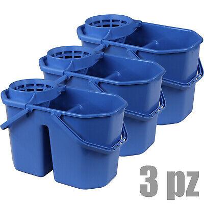 3 pz. secchio IPC Blu professionale lt.15 due vasche e strizzatore per mocio mop
