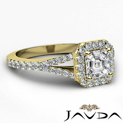 French Set Pave Split Shank Halo Asscher Diamond Engagement GIA G VVS2 Ring 1 Ct 9