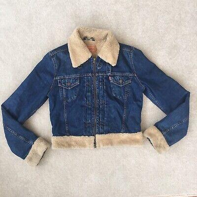 Levi's Sherpa Fleece Lined Denim Jacket 73696 Blue Festival 10 12
