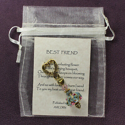BEST FRIEND CHARM Amulet Talisman Greeting Note Card Heart Bag Message