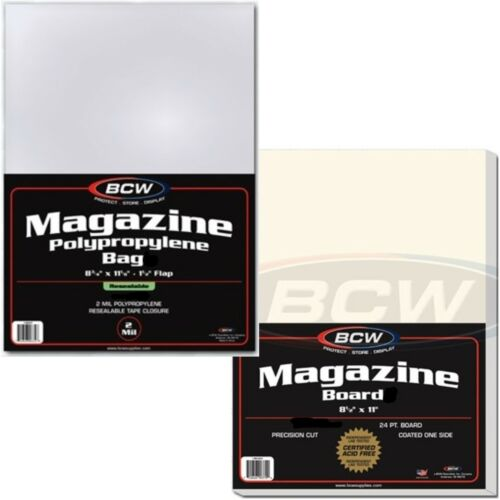 """5 Magazine Bags Boards BCW Combo Resealable Sleeves Archival Archive 8.5"""" x 11"""""""