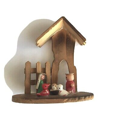 Vintage Russ Berrie Nativity Stable Holy Family Wooden Christmas Tree Ornament