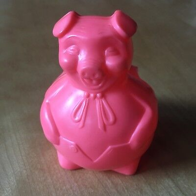 Vintage State Bank Of Lombard Ill Pink plastic pig coin piggy - Pink Plastic Piggy Bank