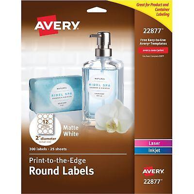 Avery Labels Round Permanent 2 Dia 300pk Matte White 22877