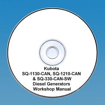 Kubota SQ-1130-CAN, SQ-1210-CAN &SQ-330-CAN-SW Diesel Generators Workshop Manual