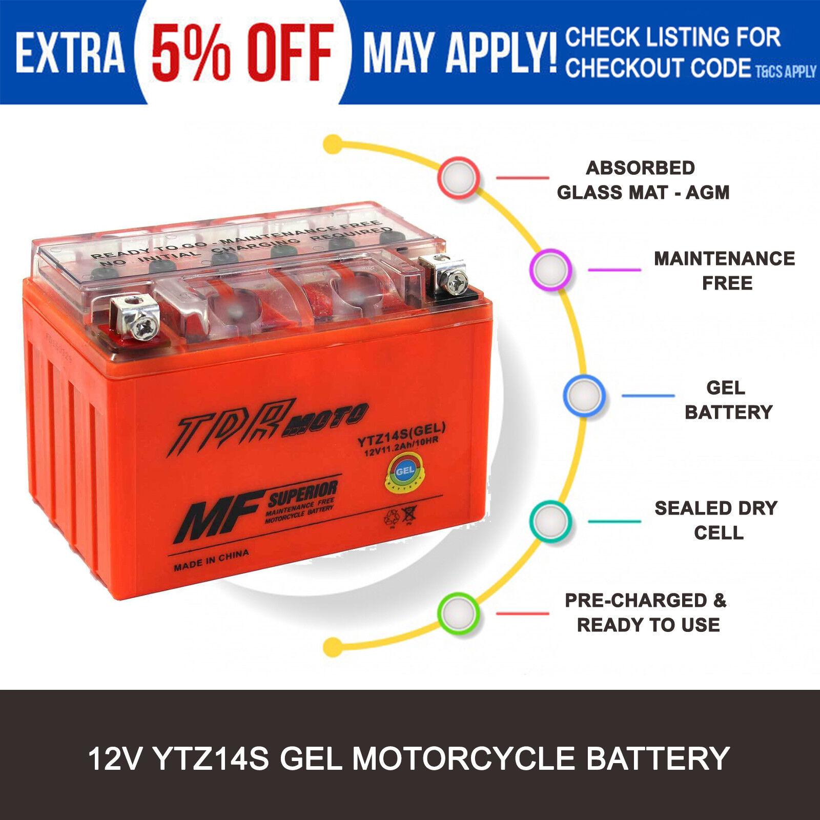 Ytz14s Tdrmoto Gel Performance Battery Equiv To Ytx9bs Yt12abs Vt750dc Wiring Diagram Ytz12s Mbtx9u