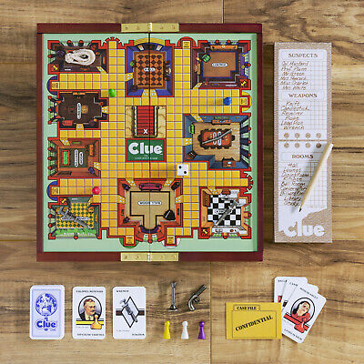 Clue Deluxe Travel Edition Wooden Folding Board Game Road Trip Free Shipping