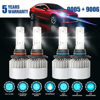 9006+9005 LED Headlight 4200W 630000LM Hi-Lo Beam Combo Kit 6000K HID Lamp Power 12v 35w Light Bulb